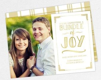 We're Expecting a Bundle of Joy Christmas Cards, Gold Pregnancy Announcements, Christmas Pregnancy Announcement,