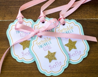 12 Personalized Star favor tags, pink mint & gold, twinkle twinkle little star, star