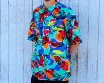Colorful Fish Print Button Up