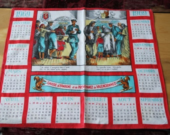 Vintage 1969 The Saving Bank calendar-kitchen towel