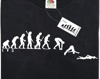 Mans Evolution T-Shirt® EVO Mens Ape to SWIMMING brand new original gift