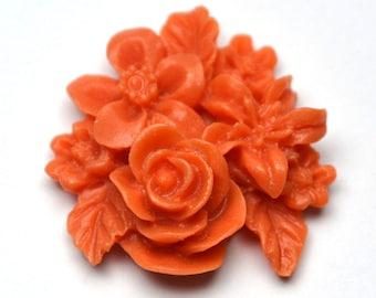 Orange Cluster Flower, Pack of 4