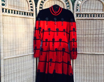 Vintage Red & Black Silk Beaded Evening Dress.