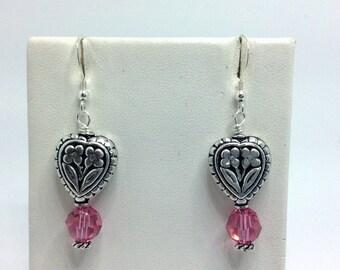 Sterling Silver Earrings, Heart Earrings, Pink Swarvoski Crystals