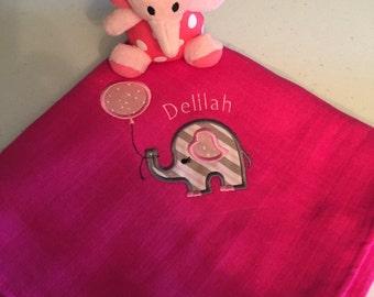 Elephant applique baby blanket