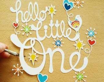 Hello Little One New Baby Personal Use Papercut Design Template - DIY