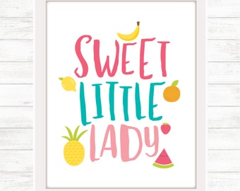 Sweet Little Lady Fruits Digital Download / Printable Wall Art for Nursery or Girls' Room