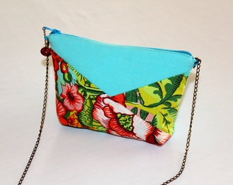 Turquoise and fabric Kit with colourful and exotic flowers
