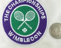 Wimbledon Tennis applique - Green and Purple iron on patch - The Championships - Tennis Rackets and Tennis Ball - 3 inch Heat Set badge