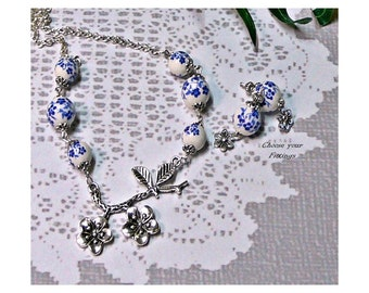 Blue and White Porcelain necklace earrings set, choose your fittings