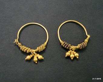 22kt gold earrings hoop earrings vintage antique old tribal jewellery