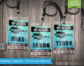 Paintball VIP Badges - INSTANT DOWNLOAD - Printable Paintball Lanyard Name Badges - ViP Tags - DiY Personalize + Print (PBvp01)