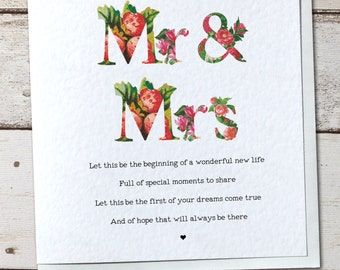 Vintage Wedding Mr & Mrs Wedding Card - Mr and Mr/Mrs and Mrs Avaliable