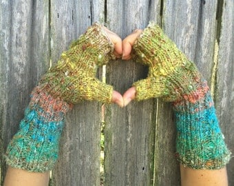 Noro Cabled Fingerless Mittens