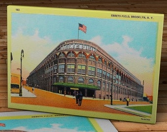 Vintage Brooklyn Dodgers Ebbets Field Street View Postcard - Canvas Gallery Wrap - 16 x 10 #BB136
