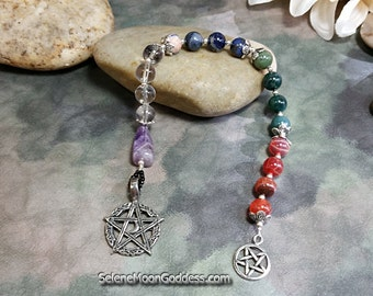 Meditation Pagan Prayer Beads Four Elements and Spirit Semi Precious Gemstones