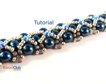 Right Angle Weave Beaded Bracelet Pattern - Beading Pattern and Tutorial -  Beadweaving Tutorial - Jewelry PDF - Scalloped Edges Bracelet