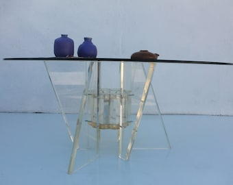 Vintage Sculptural Lucite Base glass top Round Coffee Table .