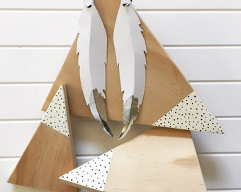 snowy mountain timber traingles (Set of 3)