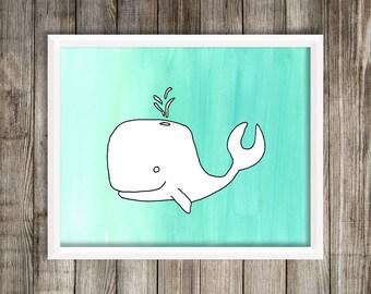 8x10 Custom Whale Doodle