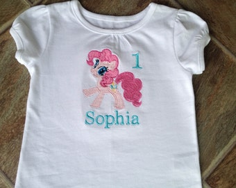Pinkie Pie Birthday Shirt, My Little Pony Birthday Shirt, Pinkie Pie Party, Pinkie Pie, My Little Pony Shirt, Personalized, Embroidered