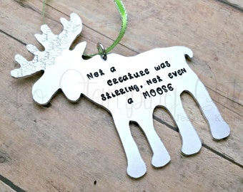 Moose Ornament | Moose Decor | Christmas Moose | Christmas Ornaments | Not A Creature Was Stirring | Christmas Tree Ornaments | Handmade