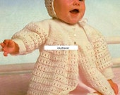"""Instant PDF Download Vintage Crochet Pattern to make a Baby Toddler's Lacy Coat or Cardigan with Bonnet & Bootees Chest 16-20"""" in 3 ply Yarn"""