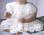 """Instant PDF Download Vintage Crochet Pattern to make A Baby Girl's Pretty Lacy Puff Sleeve Full Skirted Dress Chest 16-20"""" in DK"""