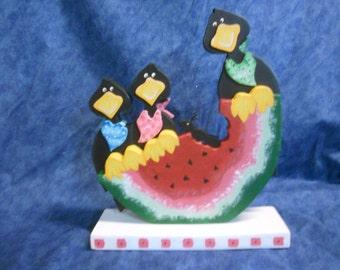 Crow Watermelon Picnic Wood Figurine