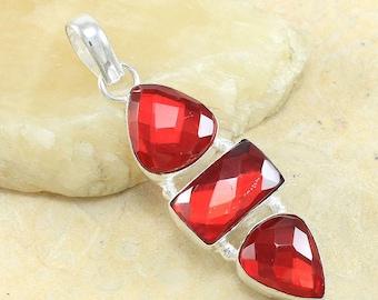 "Blood Red Garnet Sterling Silver Pendant 2 1/2"""