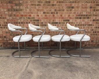 Retro Tubular Chrome Dining Chairs - Set of 4