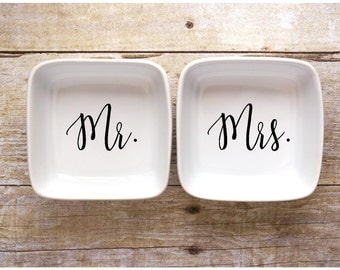 Mr. & Mrs. Jewelry Dishes - Ring Dishes - Wedding Gift - Anniversary Gift