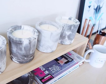 Round marble soy candle