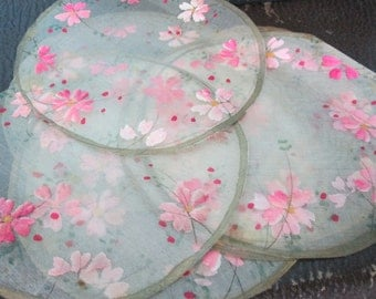 FREE SHIPPING Hand Painted Silk Circles Doilies Antique Painted Silk Remnants Circles
