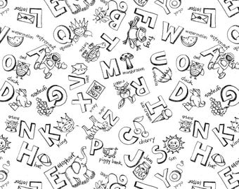 """Wilmington Prints Fabric """"White Letter Toss"""" by Renae Lindgren-One Yard Cut - Best in Class, Letter fabric, black and white, alphabet fabric"""
