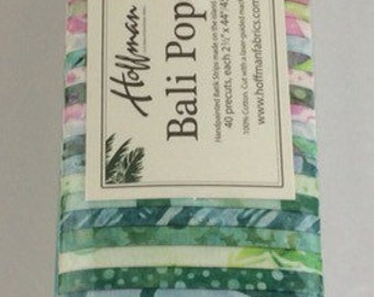 "Bali Pop ""Chintz""  by Hoffman Fabrics-40 strips of 2 1/2"" fabric strips -jelly roll - BP-616 - pink, green, blue, yellow"