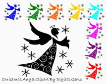 Christmas Angel Silhouette Clipart, Xmas Fairy and Snowflake Clip Art, Instant Download, PNG Files