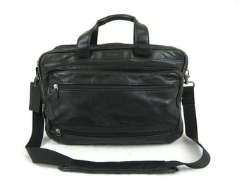 Spring Sale Hartmann Black Leather Combination Briefcase Travel Bag Luggage Shoulder Bag Made In U.S.A. - Vgc