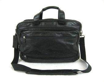 Hartmann Black Leather Combination Briefcase Travel Bag Luggage Shoulder Bag Made In U.S.A. - Vgc
