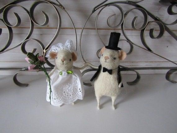 Wedding couple wedding Mouse Mouse wool Handmade wedding Gift