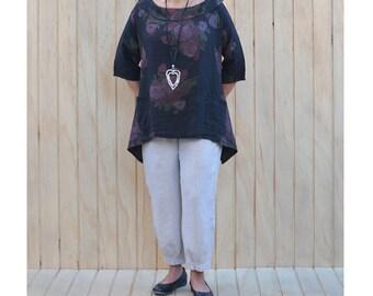 Plus Size Linen Lagenlook Tunic Top Shirt Blouse Quirky Dress Size UK 14 16 18 20 22 24/US 12 14 16 18 20 22 L  XL xxl Floral 3118