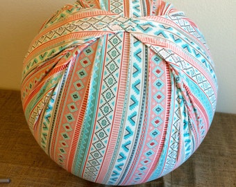 Birth Ball Cover with Handle, Exercise/Yoga Ball Cover, Birthing Ball Cover, Ball Cover - TEAL/CORAL