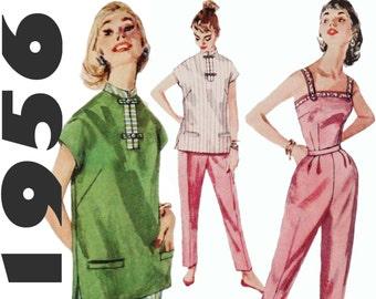 1950s Pants Pattern Mandarin Top Pattern Cigarette Pants Pattern SIMPLICITY 1665 sz 14 b 32 Camisole Top Pattern 1950s Outfit Ankle Pants