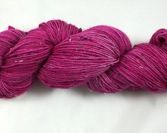 hand dyed sock yarn, donegal tweed sock, superwash merino and NEP, colorway TULIP