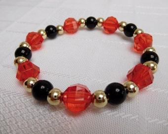 Red, Black & Gold Beaded Stretch Bracelet, Red Bracelet, Black Bracelet, Gold Bracelet