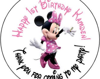 24 Ears pink minnie mouse  Theme Birthday Party Stickers 1.67 inch Round Personalized kids