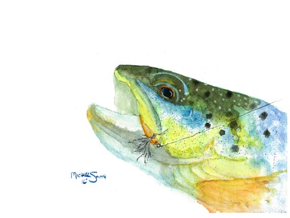 Trout fish watercolor painting with lure 8 5 x 11 colors for Fishing lure paint
