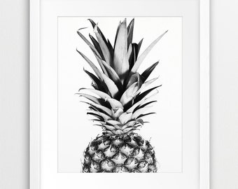 Pineapple Print, Tropical Fruit, Pineapple Wall Art, Photography Black And White, Modern Wall Art, Tropical Decor, Summer Art, Printable Art