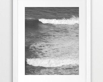 Ocean Wave Printable Art, Beach Decor, Coastal Wall Art, Ocean Print, Black And White Photography, Grey Decor, Sea Photo, Modern Wall Art