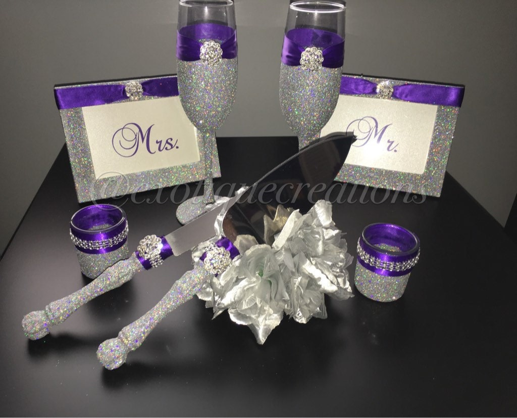 Silver with BLING and Purple 8pc Wedding Set toasting Flutes